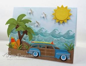 Woody and Surfboard Beach Card