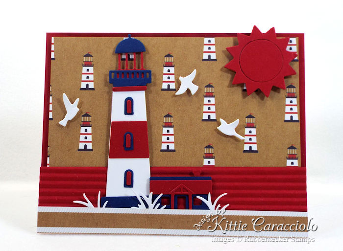 Come over to my blog to see my pretty red, white and blue lighthouse card.
