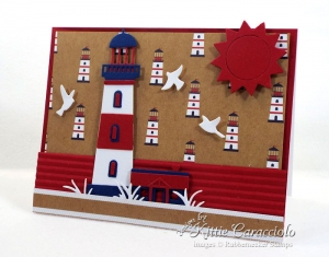 Red, White and Blue Lighthouse Card