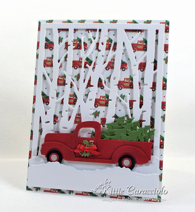 Come see how I made this Christmas tree truck card.
