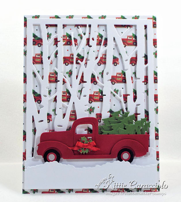 Come see how I made this bright Christmas tree truck card.