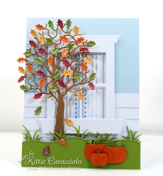 Come see how I made this colorful die cut fall tree and window card.