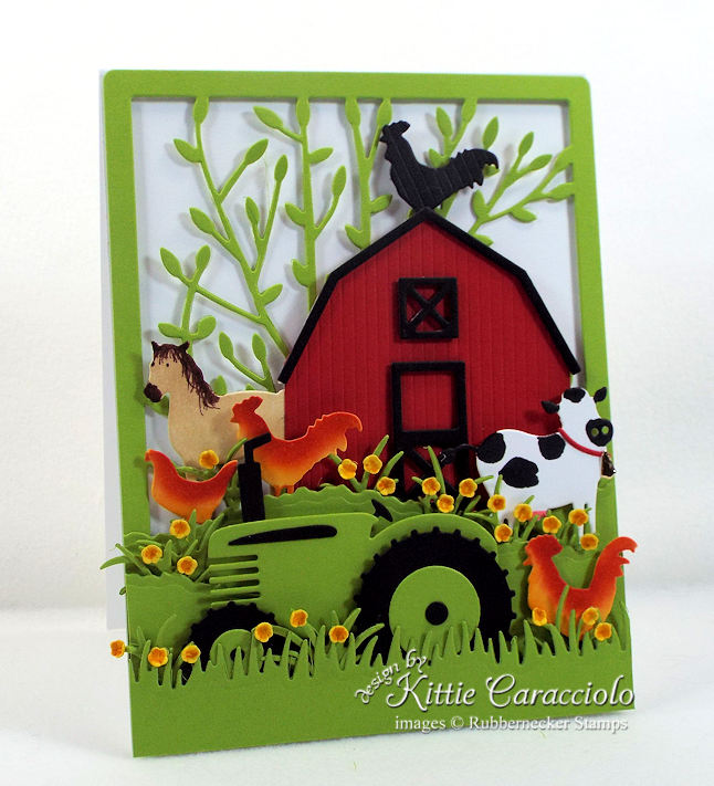 Come see how I made this colorful red barn and farm animals card.