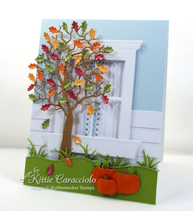 Come see how I made this die cut fall tree and window card.