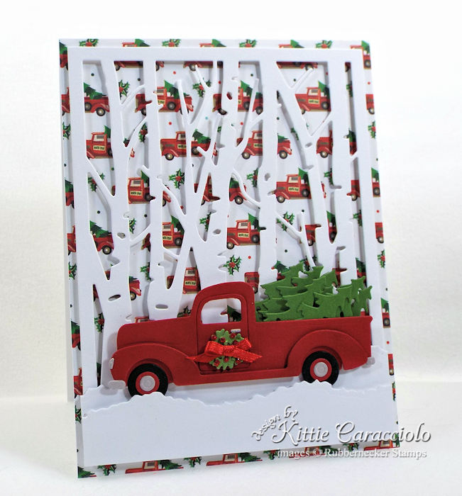 Come see how I made this fun Christmas tree truck card.
