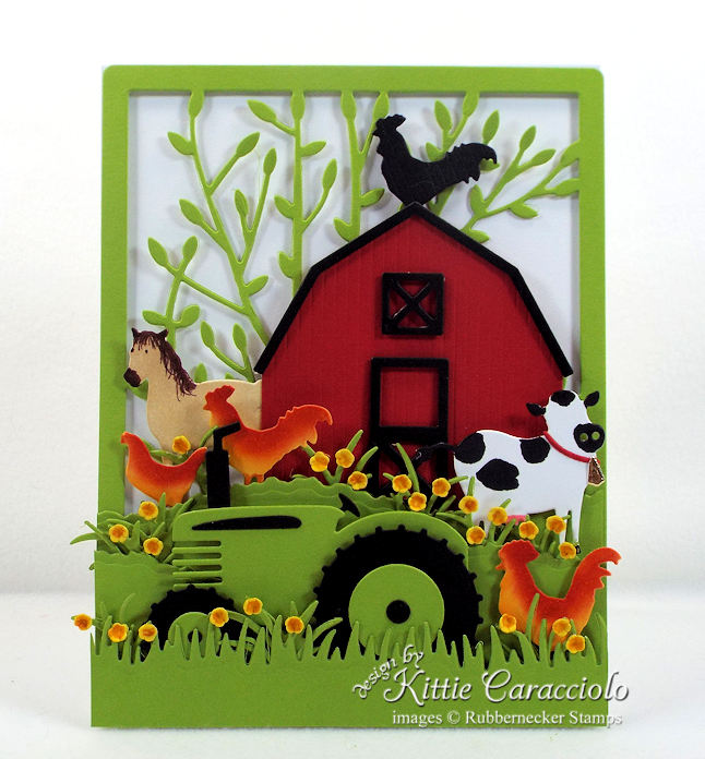 Come see how I made this fun red barn and farm animals card.