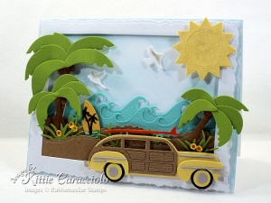 Palm Trees and Woody Beach Card