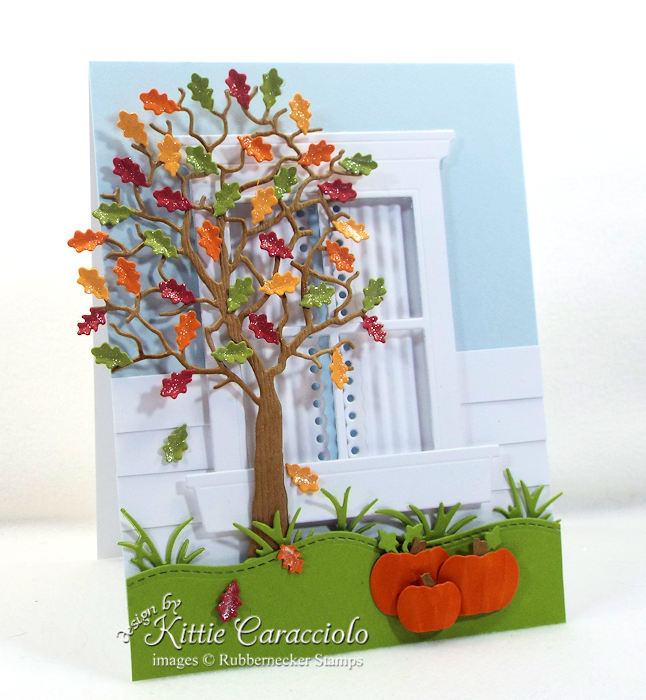 Come see how I made this pretty die cut fall tree and window card.