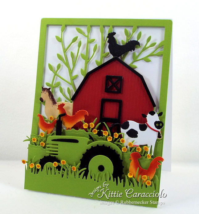 Come see how I made this red barn and farm animals card.