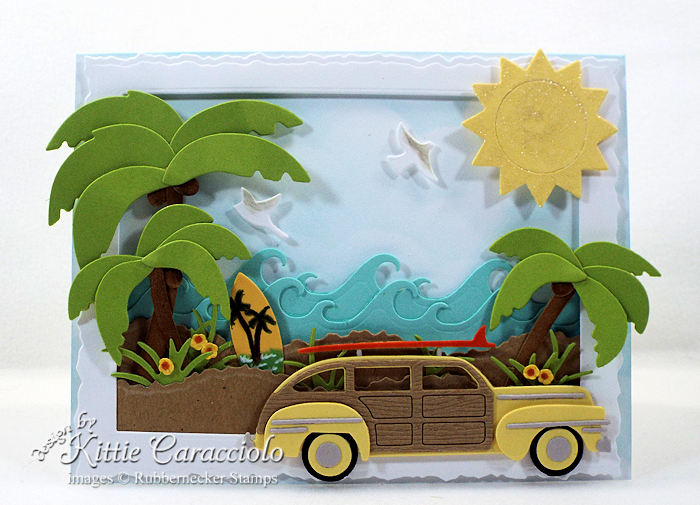Come see how I made this sunny palm trees and woody beach card.