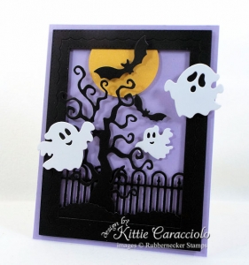 Halloween Ghosts and Bats Card
