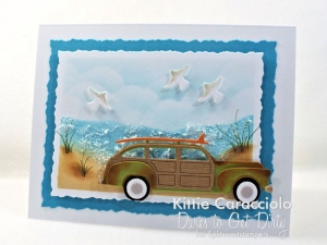 Beach Scene with Vintage Woody