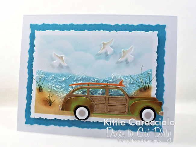 Come see how I made this beach scene with vintage woody card.