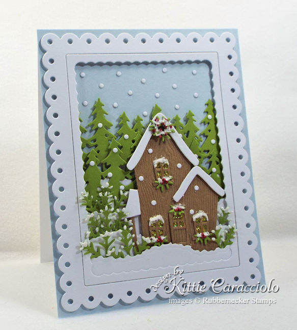 Come see how I made this lovely snowy christmas house scene card.