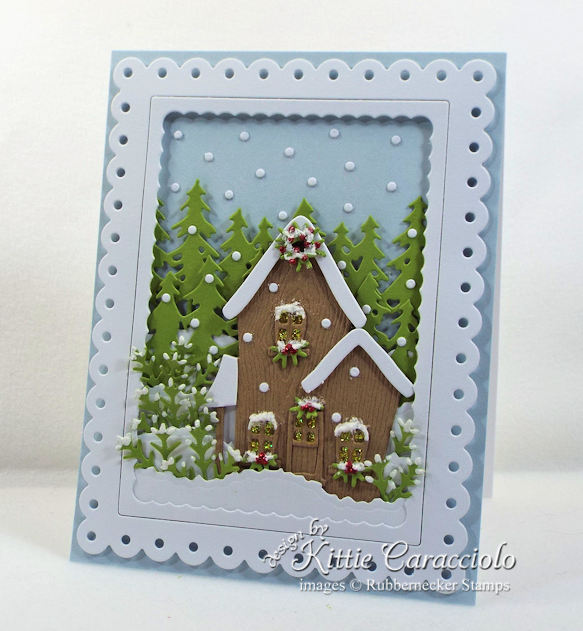 Come see how I made this snowy christmas house scene card.