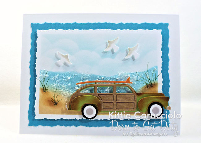 Come see how I made this sparkling beach scene with vintage woody card.