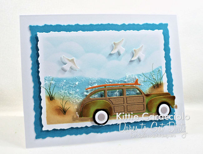 Come see how I made this summer beach scene with vintage woody card.