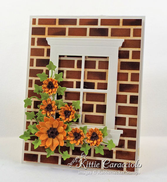 Come see how I made this window card with brick background.