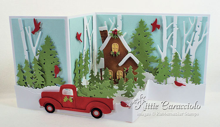 Come over to my blog and check out how I made this Z Fold Box Christmas house and truck card.