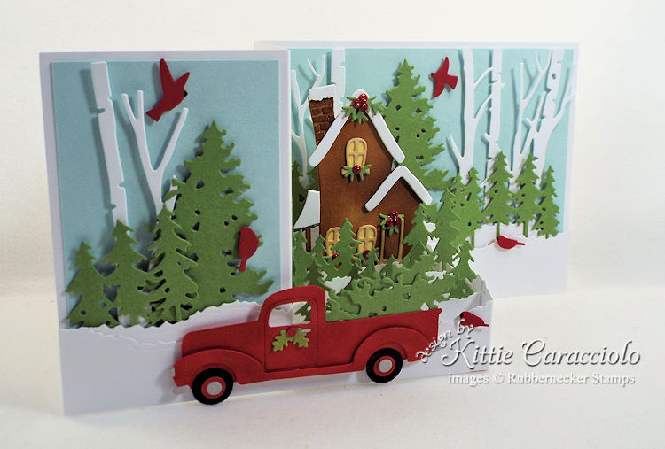 Come over to my blog and check out how I made this colorful Z Fold Box Christmas house and truck card.