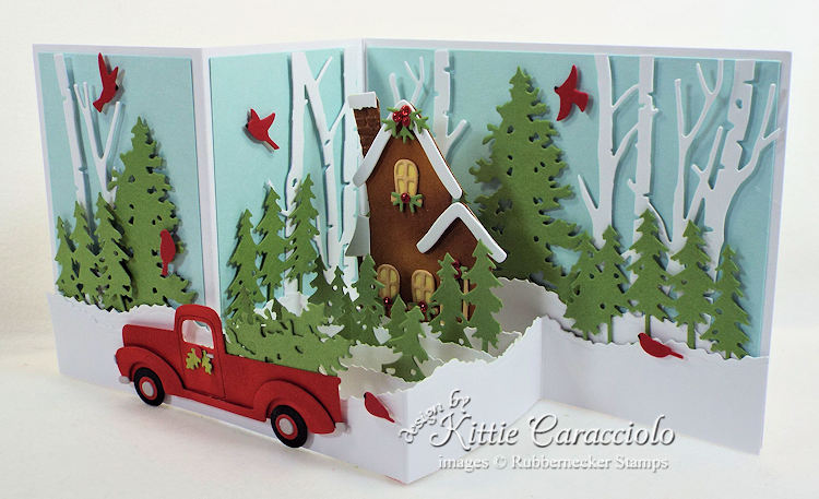 Come over to my blog and check out how I made this pretty Z Fold Box Christmas house and truck card.
