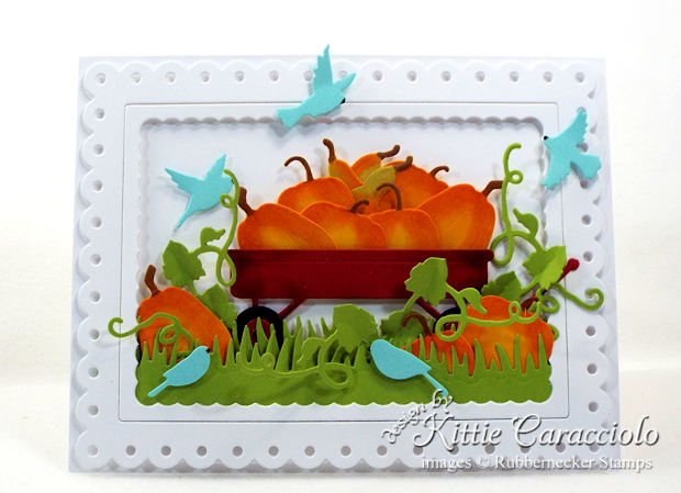 Come see how I made this colorful pumpkin wagon scene card.