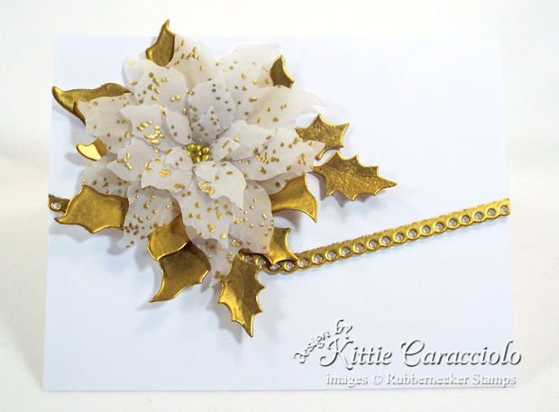 Come see how I made this lovely gold embossed vellum poinsettia card.