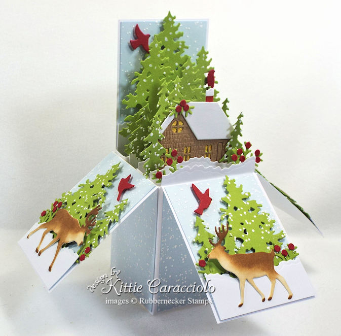 Come see how I made this nature pop up box card for Christmas.