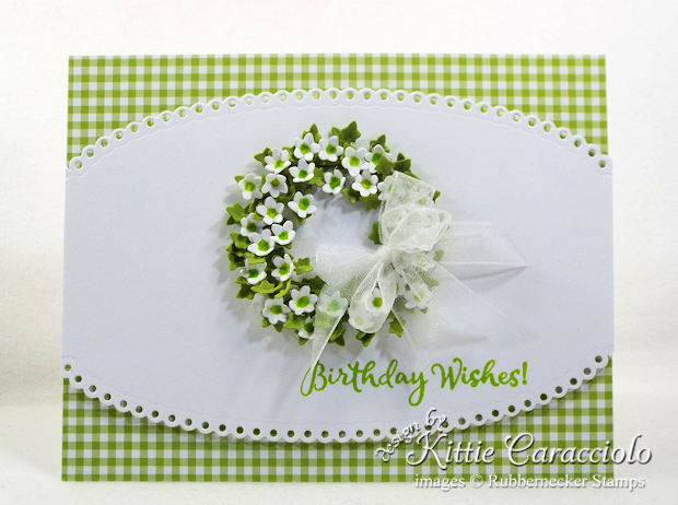 Come see how I made this pretty clean and simple paper flower wreath card.