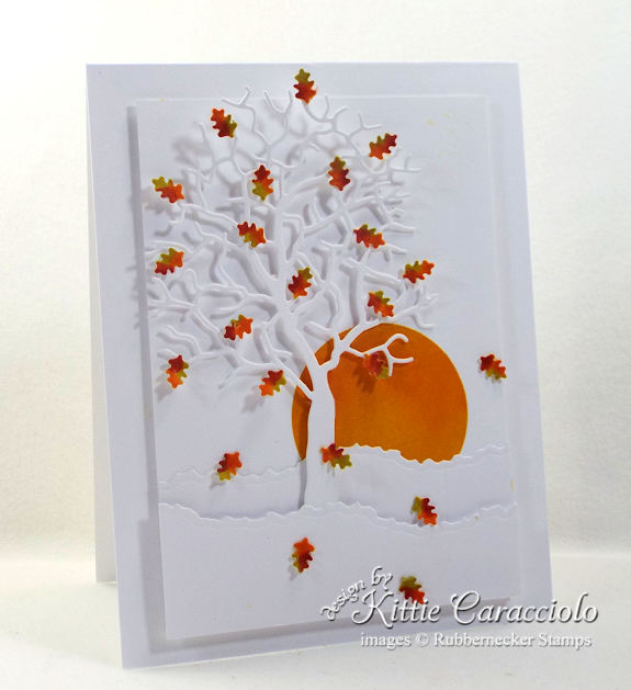 Come see my clean and simple falling autumn leaves card with white on white background.
