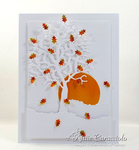 Come see my falling autumn leaves card with white on white background.
