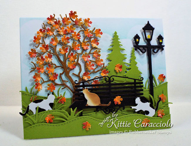 Come over to my blog to see how I made this fun autumn leaves card with kitty cats.