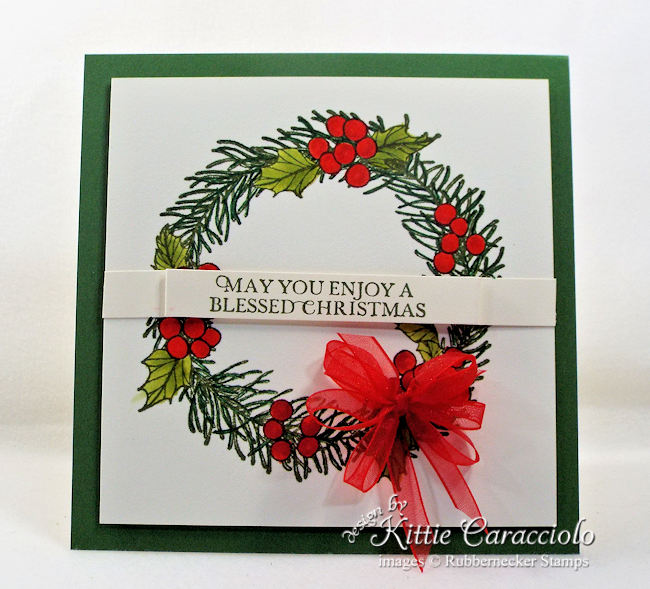 Come over to my blog to see how I made this pretty Christmas wreath card.