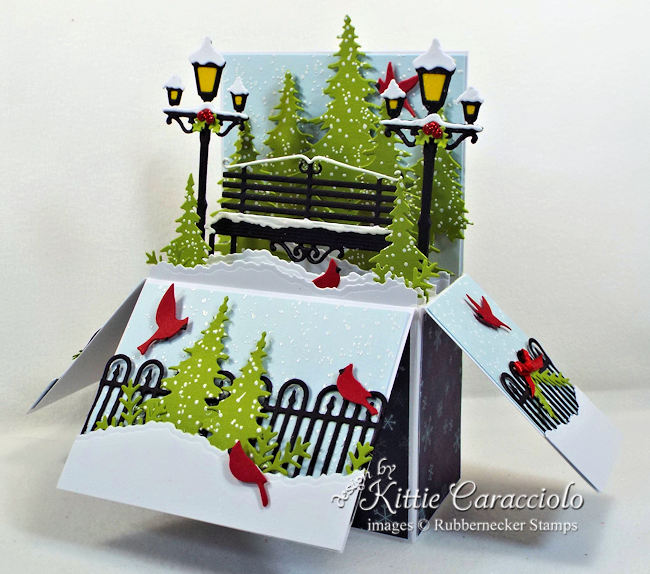 Come over to my blog to see how I made this snowy holiday pop up box card.