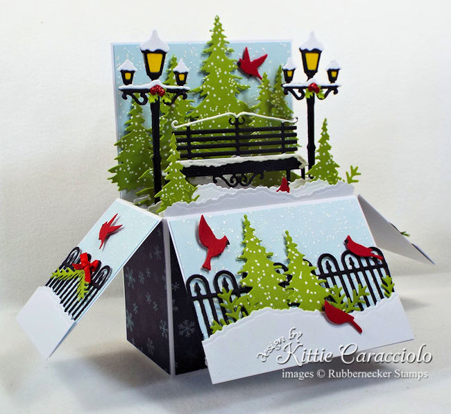 Come over to my blog to see how I made this winter holiday pop up box card.