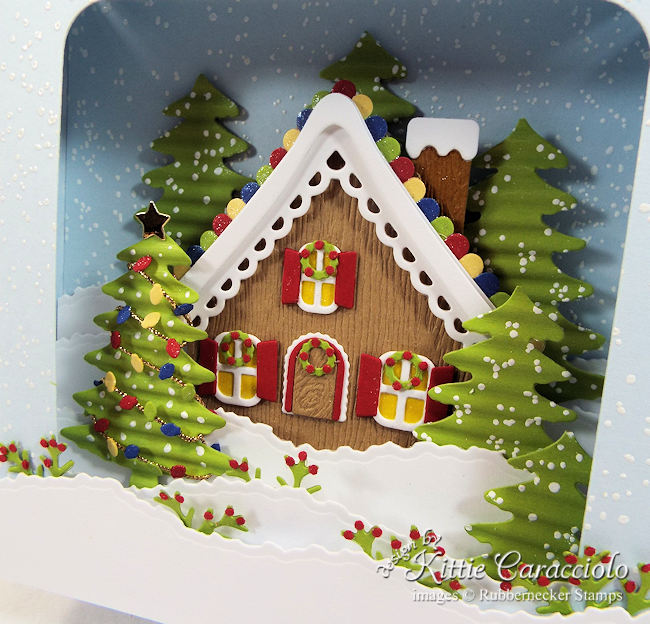 Come see how I made this Christmas gingerbread house shadow box card.