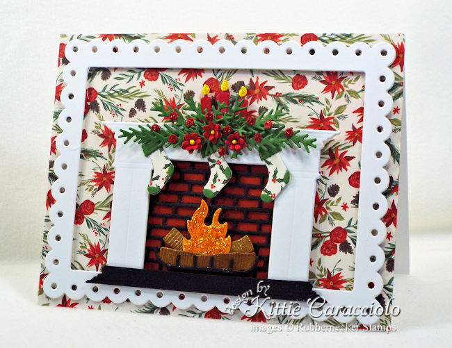 Come see how I made this fireplace Christmas card.