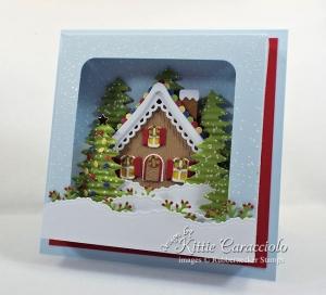 Gingerbread House Shadow Box Card
