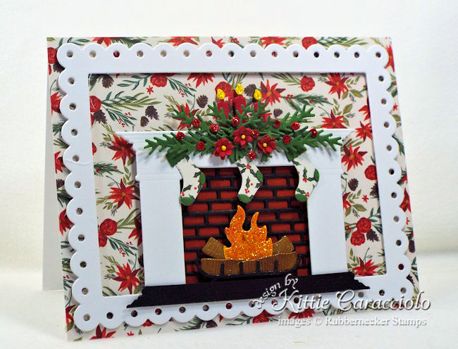 Come see how I made this pretty fireplace Christmas card.