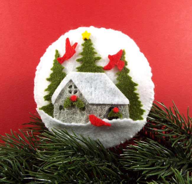 Click thru to see how I made winter scene felt ornaments.
