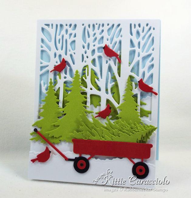Come see how I made this Christmas tree wagon card.