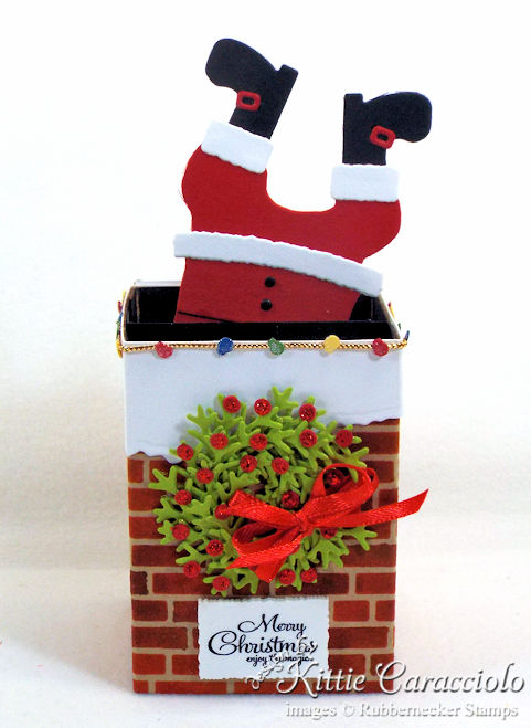 Come see how I made this Santa stuck in the chimney box card.