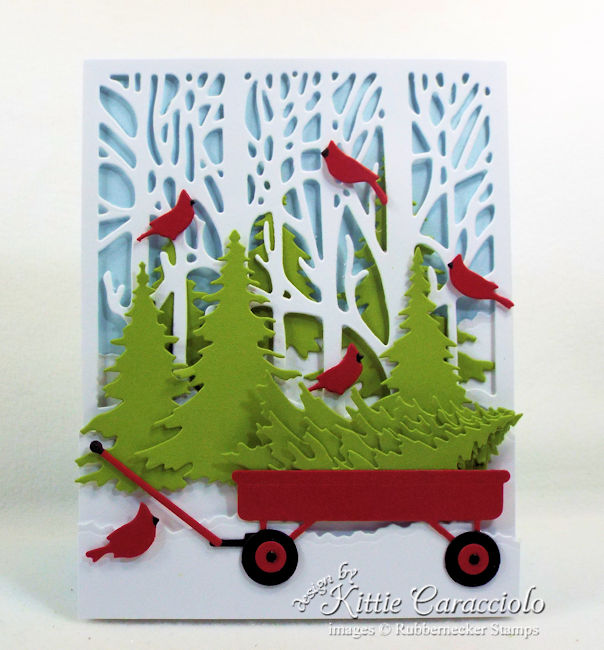 Come see how I made this colorful Christmas tree wagon card.