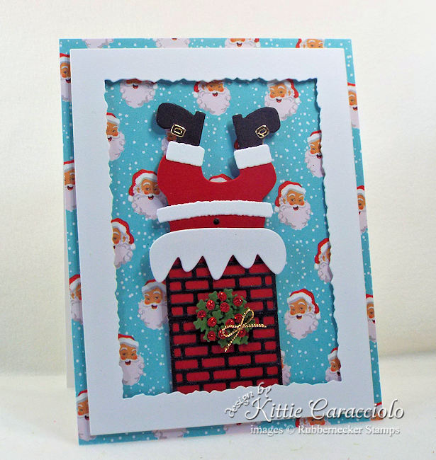 Come see how I made this fun stuck Santa Christmas card.