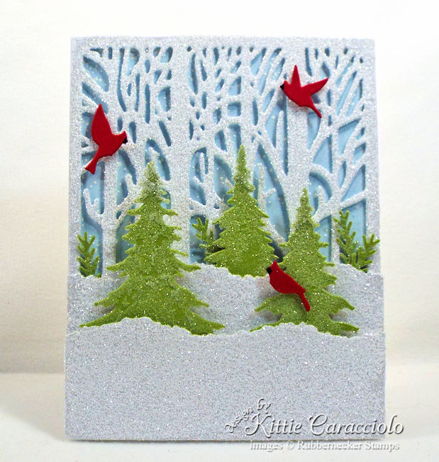 Come see how I made this glittery winter scene Christmas card.