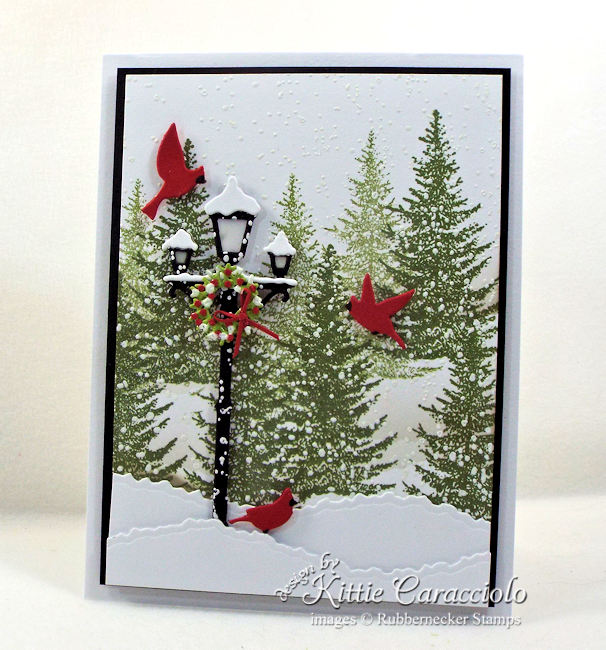 Come see how I made this lamp post Christmas card.