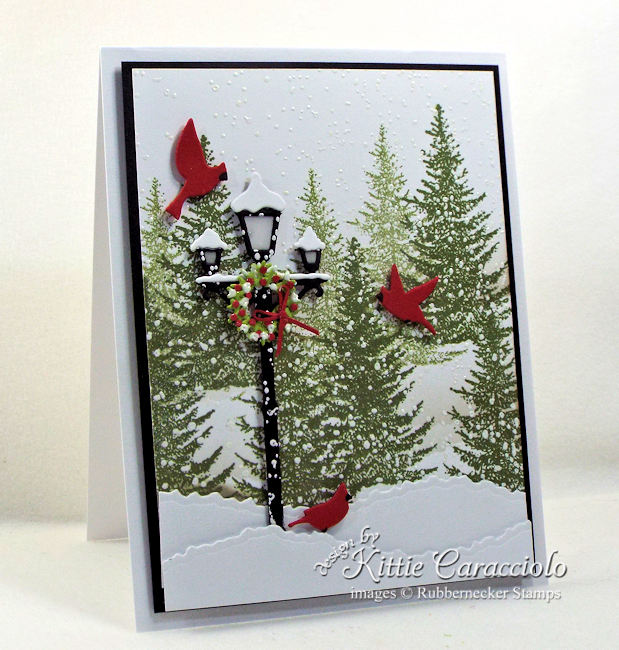 Come see how I made this lovely lamp post Christmas card.