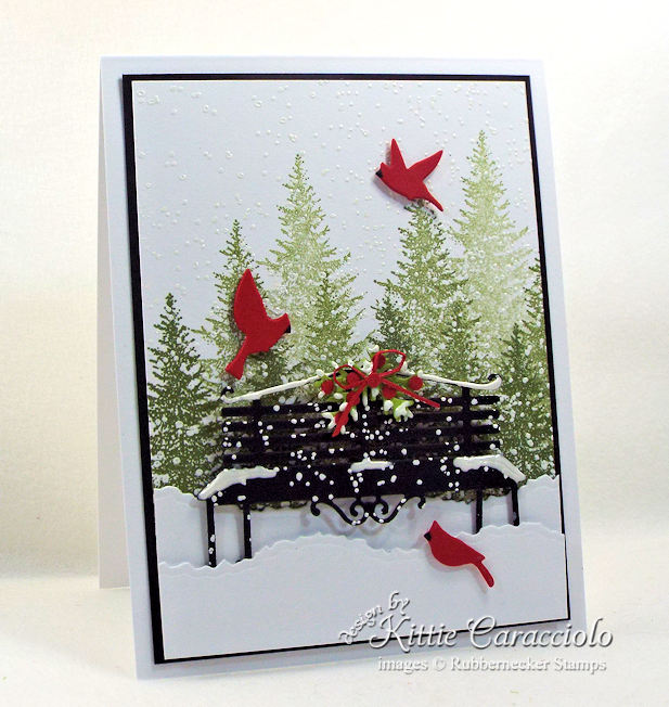 Come see how I made this lovely snowy park bench card.