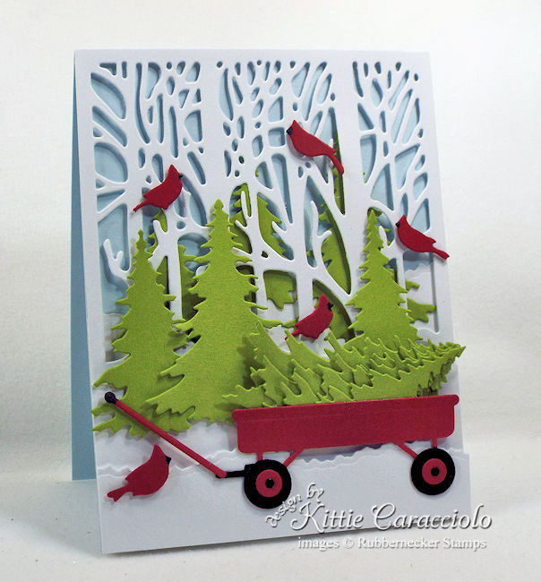 Come see how I made this pretty Christmas tree wagon card.