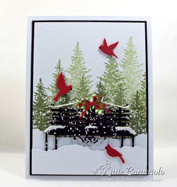 Come see how I made this pretty snowy park bench card.